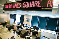 21 July 2005 - Jersey City, NJ - View of the backup zipper in the Dow Jones Newswire offices in New Jersey, USA, which displays a live version of the Times Square zipper for control purposes, 21 July 2005. The content of the Times Square feed is edited from the New Jersey desk.