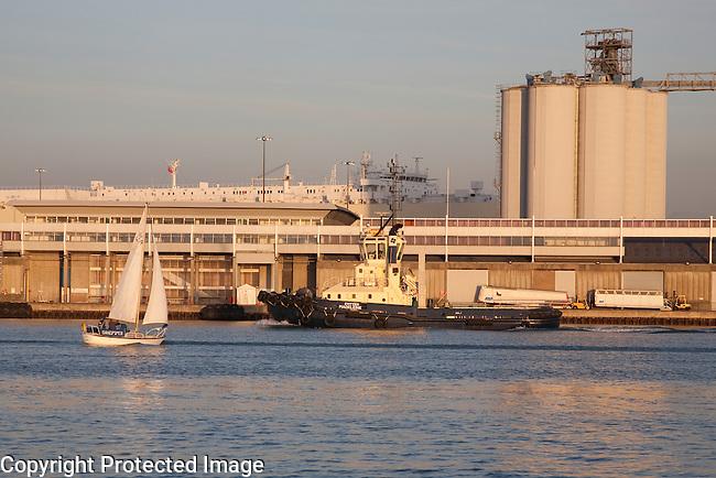 Tug and Sail Boat in Southampton Docks, England, UK