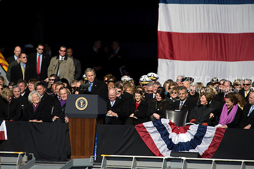 Norfolk, VA - January 10, 2009 -- United States President George W. Bush addresses the audience at the commissioning ceremony for the aircraft carrier USS George H.W. Bush (CVN 77) at Naval Station Norfolk, Va. The Navy's newest, and final, Nimitz-class aircraft carrier is named after World War II naval aviator and the 41st president of the United States George H.W. Bush..Credit: Chad J. McNeeley - U.S. Navy via CNP