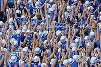 Fussball 1. Bundesliga :  Saison   2012/2013   8. Spieltag  20.10.2012 Borussia Dortmund - FC Schalke 04 Schalke Fans mit einem Banner SCHEISS BVB UND DEM STINKEFINGER