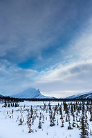 Winter landscape of Mount Sukakpak of the Brooks Range Mountains, Alaska.