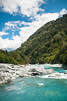 Scenic and wild Perth River with tramper, South Westland, West Coast, South Westland, New Zealand