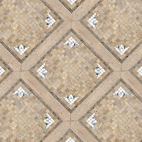 Coventry Garden, a hand cut and waterjet natural stone mosaic, is shown in Calacatta Tia, Verde Luna (polished), Jura Grey, Fontenay Claire and St Richard (honed).