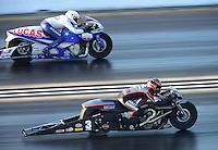 Jul. 1, 2012; Joliet, IL, USA: NHRA pro stock motorcycle rider Hector Arana Jr (far lane) races alongside Andrew Hines during the Route 66 Nationals at Route 66 Raceway. Mandatory Credit: Mark J. Rebilas-