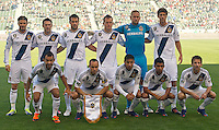 CARSON, CA - March 18,2012: LA Galaxy starting lineup for the LA Galaxy vs DC United match at the Home Depot Center in Carson, California. Final score LA Galaxy 3, DC United 1.