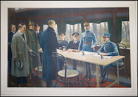 BNPs.co.uk (01202 558833)<br /> Pic: Bonhams/BNPS<br /> <br /> ***Please Use Full Byline***<br /> <br /> Painting of the historic Armistice - (Capt Marriot is forth from the right)<br /> <br /> A sheet of blotting paper used on the armistice document that brought about the end of the First World War has emerged for sale for 30,000 pounds.<br /> <br /> The sheet carries the inky signatures of military leaders Admiral Sir Rosslyn Wemyss and Marshal Ferdinand Foch who had been sent to France in November 1918 to thrash out a peace deal with the Germans.<br /> <br /> Captain John Marriott, Admiral Wemyss' naval assistant during the negotiations, was acutely aware of the significance of the peace deal - and after the document had been signed the quick-thinking captain pocketed the scrap of paper used to blot the signatures.<br /> <br /> Capt Marriott's family is selling the paper, along with a letter written to his wife and a blow-by-blow account of the talks, to mark the centenary of the outbreak of fighting.<br /> <br /> Experts say they could fetch 30,000 pounds when they go under the hammer in a Bonhams auction on October 1.
