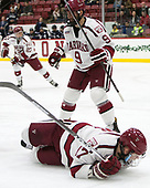 Sean Malone (Harvard - 17), Luke Esposito (Harvard - 9) - The Harvard University Crimson defeated the Yale University Bulldogs 6-4 in the opening game of their ECAC quarterfinal series on Friday, March 10, 2017, at Bright-Landry Hockey Center in Boston, Massachusetts.