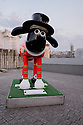 London, UK. 07.04.2015. Shaun the Sheep, charity sculptures, London, UK. Yeoman of the Baaard, Tower of London.  Photograph © Jane Hobson.