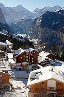 Swiss ski chalets at Wengen - Swiss Alps - Switzerland