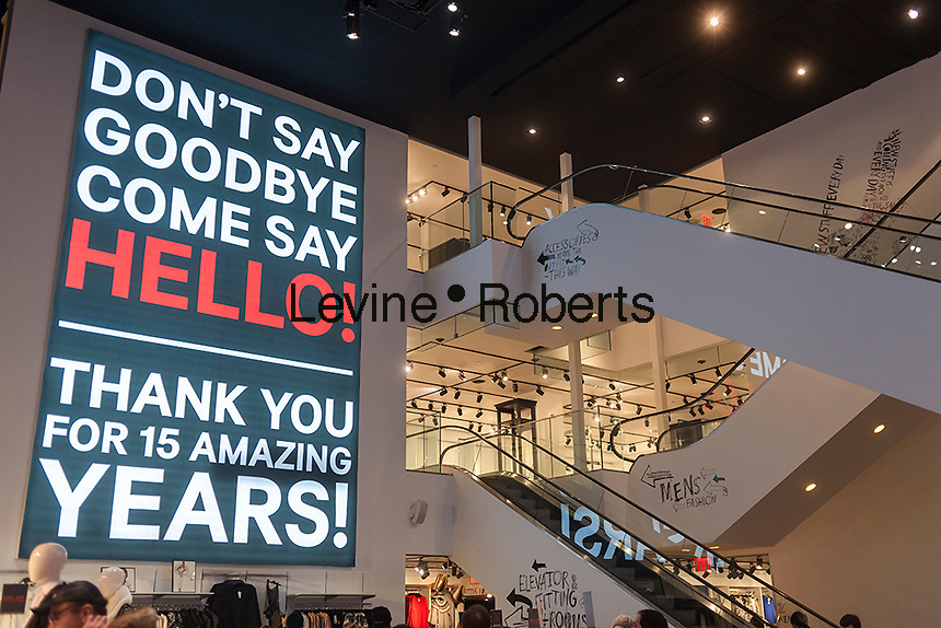 A giant illuminated sign in the H&M department store on Fifth Avenue in Midtown Manhattan in New York thanks customers for patronizing the branch over their fifteen year lease, seen on Saturday, December 27, 2014. The lease has come up and the branch of the chain has been replaced by their new flagship several blocks south.  (© Richard B. Levine)