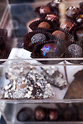 December 3, 2011. Durham, NC.. Truffles and other chocolates..  Areli Barrera de Grodski and Leon Grodski de Barrera are the owners of Cocoa Cinnamon, a specialty chocolate shop, as well as bikeCoffee, a bicycle powered mobile coffee shop.