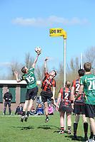 KORFBAL: REDUZUM: Sportpark Reduzum, 28-04-2013, Veld Hoofdklasse A, KV Mid Fryslân-LDODK AH Gorredijk, Eindstand 13-19, André Zwart (#15 | LDODK), Sjoerd Pool (#17 | MF), ©foto Martin de Jong