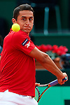 06.04.2012 Oropesa, Spain. 1/4 Final Davis Cup. Nico Almagro in action during first match of 1/4 final game of Davis Cup played at Oropesa town.