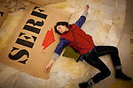 Nina Bednarski participates in protest art against a bill to eliminate collective bargaining at the State Capitol in Madison, Wisconsin, February 24, 2011.