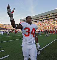 Ohio State Buckeyes running back Carlos Hyde (34) celebrates after beating Michigan Wolverines 42-41 during their college football game at Michigan Stadium in Ann Arbor, Michigan on November 30, 2013.  (Dispatch photo by Kyle Robertson)