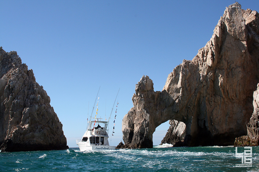 Sport fishing yacht at the Land's End in Cabo San Lucas