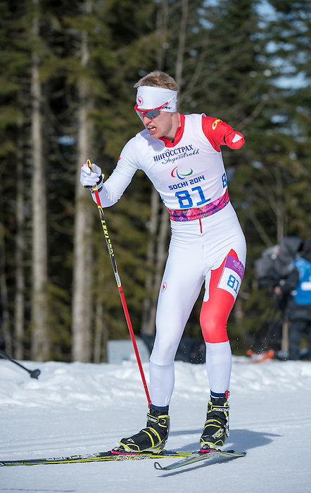 Sochi, RUSSIA - Mar 16 2014 - Mark Arendz competes in Cross Country Skiing Men's 10km Free Standing at the 2014 Paralympic Winter Games in Sochi, Russia.  (Photo: Matthew Murnaghan/Canadian Paralympic Committee)