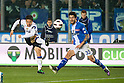 (L-R) Yuto Nagatomo (Inter), Panagiotis Kone (Brescia), MARCH 11, 2011 - Football : the teams play with a band of mourning on the arm in remembrance of earthquake victims in Japan. Italian Serie A 2010-2011, match between  Brescia 1-1 Internazionale at Mario Rigamonti Stadium, Brescia, Italy, (Photo by Enrico Calderoni/AFLO SPORT) [0391]
