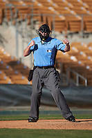 Umpire Tom Woodring during an Arizona Fall League game between the Mesa Solar Sox and Glendale Desert Dogs on October 20, 2016 at Camelback Ranch in Glendale, Arizona.  Glendale defeated Mesa 3-2.  (Mike Janes/Four Seam Images)