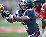 Ole Miss' Wesley Pendleton (6) breaks up a pass attempt at Grove Bowl in Oxford, Miss. on Saturday, April 16, 2011.