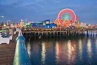 Pacific, Park, Pier, Santa Monica, CA, Beautiful, family, amusement, park, large, New, Pacific, Ferris wheel, Roller Coaster, moving, over the, ocean, Unique, Fun