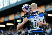 Leroy Houston of Bath Rugby celebrates his bonus-point try with team-mate Tom Homer. Aviva Premiership match, between Bath Rugby and London Irish on March 5, 2016 at the Recreation Ground in Bath, England. Photo by: Patrick Khachfe / Onside Images