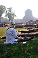Scarlett rests in the garden of Sarnath in Varanasi. This is the place where Buddha first came and gave his sermon. Its remains a site of great importance for Buddhists worldwide.
