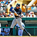 11 March 2009: New York Yankees' outfielder Johnny Damon connects for a base hit during a Spring Training game against the Detroit Tigers at Joker Marchant Stadium in Lakeland, Florida. The Tigers defeated the Yankees 7-4 in the Grapefruit League matchup. Mandatory Photo Credit: Ed Wolfstein Photo