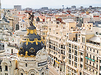MADRID, SPAIN - MAY 20: Metropolis building in Gran Via of Madrid on 20, 2011 in Madrid, Spain. This emblematic building was constructed in 1911 by French architects Jules and Raymond Fevrier in new Renaissance style.