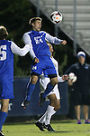25 October 2013: Duke's Rob Dolot (24) heads the ball. The Duke University Blue Devils hosted the Wake Forest University Demon Deacons at Koskinen Stadium in Durham, NC in a 2013 NCAA Division I Men's Soccer match. The game ended in a 2-2 tie after two overtimes.