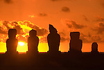 Chile, Easter Island: Staues or moai on a platform or ahu called Ahu Tahai, near the town of Hanga Roa..Photo #: ch205-32636.Photo copyright Lee Foster www.fostertravel.com lee@fostertravel.com 510-549-2202