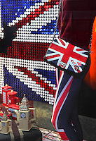 Cool Britannia store, selection of British souvenirs, including clothing and accessories, Piccadilly Circus, London, UK. Picture by Manuel Cohen