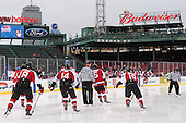 Kevin Roy (NU - 15), John Stevens (NU - 18), Braden Pimm (NU - 14), Chris Aughe, Matt Benning (NU - 5), Mike Szmatula (NU - 19) - The Northeastern University Huskies defeated the University of Massachusetts Lowell River Hawks 4-1 (EN) on Saturday, January 11, 2014, at Fenway Park in Boston, Massachusetts.