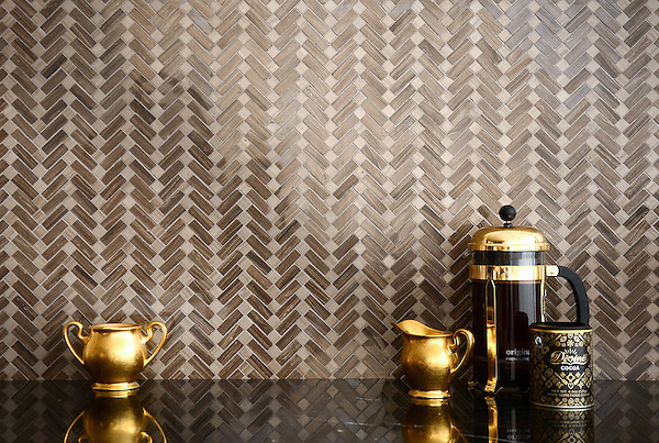 Antiquerita, a natural stone hand-cut mosaic shown in polished Bayard and Driftwood, is part of the Miraflores Collection by Paul Schatz and Sara Baldwin Designs for New Ravenna Mosaics.
