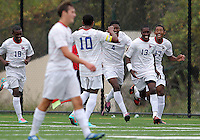 HYATTSVILLE, MD - OCTOBER 26, 2012:  Arion Sobers-Assue (13) of DeMatha Catholic High School with Sean Cowdrey (10), Wesley Snuggs (4), and Julian Dove (17) after scoring the first goal against St. Albans during a match at Heurich Field in Hyattsville, MD. on October 26. DeMatha won 2-0.