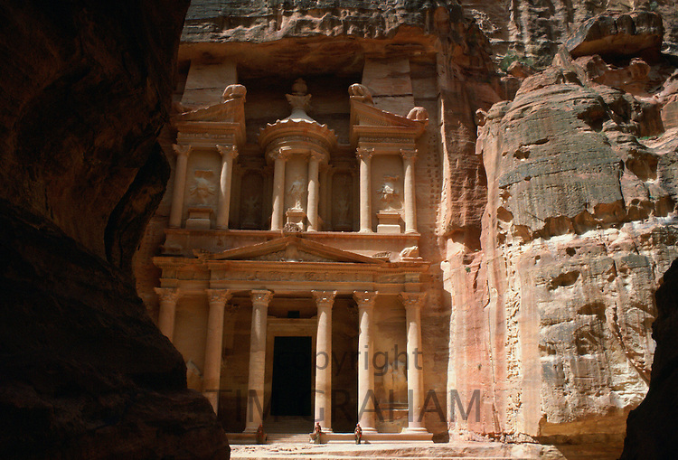 The magnificent Treasury Building viewed from the Siq at Petra, Jordan