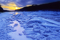 Winter Ice Floe along the Delaware River, Worthington State Forest, Delaware Water Gap, New Jersey, National Recreation Area