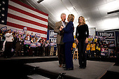 Manchester, New Hampshire.January 7, 2008 ..Democratic presidential hopeful and New York Senator Hillary Clinton campaigns with her husband Bill Clinton and daughter Chelsea at one day before the 08 January state primary..