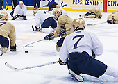 Ryan Thang (Notre Dame 9) (with puck) - The University of Notre Dame Fighting Irish practiced on Friday, April 11, 2008 at the Pepsi Center in Denver, Colorado to prepare for the 2008 Frozen Four Final on April 12.
