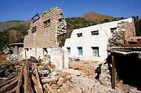 Buildings demolished in earthquake area of Azad Jammu Kashmir, in village of Pattika, Pakistan
