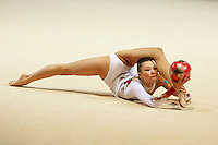Aliya Yussupova competing for Kazakhstan flexibility with ball during All-Around competition at 2006 Thiais Grand Prix in Paris, France on March 25, 2006.  (Photo by Tom Theobald)