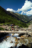 Adlerweg, Tirol, Austria, August 2005.  the bridge to the Hanauer Hutte.The Adlerweg (eagles trail) is the new long distance hiking trail in Austria. The Adlerweg connects existing paths throughout Tirol, in the shape of an eagle, Tirol's provincial symbol. Photo by Frits Meyst/Adventure4ever.com