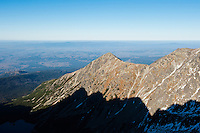 View north of Tatra mountains and foothills from near Zawrat pass, Poland