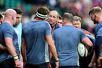 England Rugby Forwards Coach Steve Borthwick speaks to his players during the pre-match warm-up. Old Mutual Wealth Series International match between England and Argentina on November 26, 2016 at Twickenham Stadium in London, England. Photo by: Patrick Khachfe / Onside Images