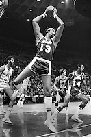 Los Angles Lakers Wilt Chamberlain grabs rebound angainst the Warriors. (1971 photo/Ron Riesterer)