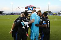 San Jose, CA - Saturday May 06, 2017: San Jose Earthquakes huddle prior to a Major League Soccer (MLS) match between the San Jose Earthquakes and the Portland Timbers at Avaya Stadium.