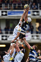 Dave Attwood of Bath Rugby competes with Don Armand of Exeter Chiefs for the ball at a lineout. West Country Challenge Cup match, between Bath Rugby and Exeter Chiefs on October 10, 2015 at the Recreation Ground in Bath, England. Photo by: Patrick Khachfe / Onside Images