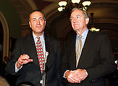 United States Senators Charles E. Schumer (Democrat of New York), left, and Tom Harkin (Democrat of Iowa), right, speak to reporters after the U.S. Senate Impeachment Trial session in the U.S. Capitol in Washington, D.C. on January 21, 1999..Credit: Ron Sachs / CNP
