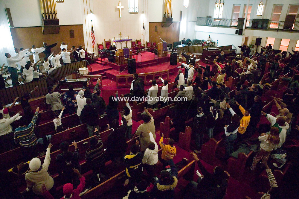 New York, USA - View of the Greater Hood Memorial AME Zion Church, home of the Hip-Hop Church, in Harlem, New York, USA, during mass, 3 February 2005. Photo Credit: David Brabyn.