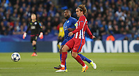 Leicester City's Wes Morgan and Atletico Madrid's Antoine Griezmann<br /> <br /> Photographer Stephen White/CameraSport<br /> <br /> UEFA Champions League Quarter Final Second Leg - Leicester City v Atletico Madrid - Tuesday 18th April 2017 - King Power Stadium - Leicester <br />  <br /> World Copyright &copy; 2017 CameraSport. All rights reserved. 43 Linden Ave. Countesthorpe. Leicester. England. LE8 5PG - Tel: +44 (0) 116 277 4147 - admin@camerasport.com - www.camerasport.com